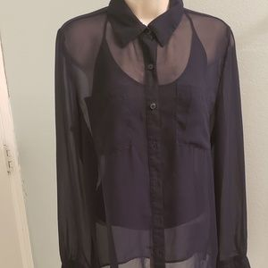 XXI Sheer Navy Blouse